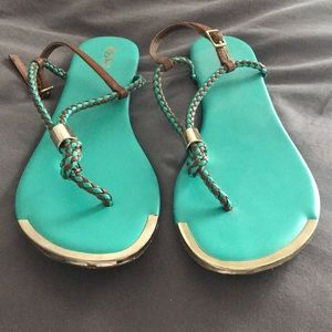 Teal and Gold Sandals‼️
